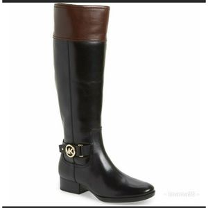 Michael Kors, black and chestnut leather boots